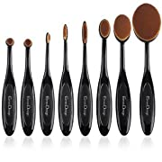 Amazon Lightning Deal 82% claimed: EmaxDesign Makeup Brushes 8 Pieces Oval Makeup Brush Set Professional Foundation Concealer Blending Blush Liquid Powder Cream Cosmetics Brushes, Toothbrush Curve Makeup Tools For Face and Eyes