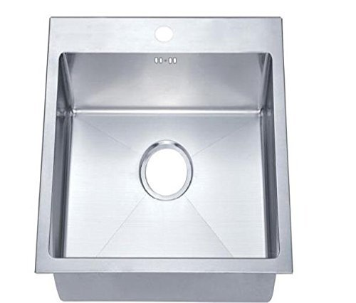 400 x 500 mm Top Mount/Inset Single Bowl Handmade Satin Stainless Steel Kitchen Sink With Tap Hole, Easy Clean Corners & Waste (DS022) by Grand Taps by Grand Taps