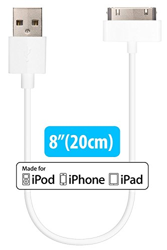 30-pin to USB Cable Apple MFI Certified Sync Charge Short Cable 8 20cm for iPhone iPad iPod Classic iPod Nano iPod Touch - 2 Pack