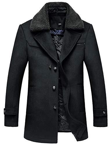 chouyatou Men's Winter Fur Lapel Collar Single Breasted Regular Wool Blend Walker Coat (Large, Black) (Coat Collar Fur Notched)