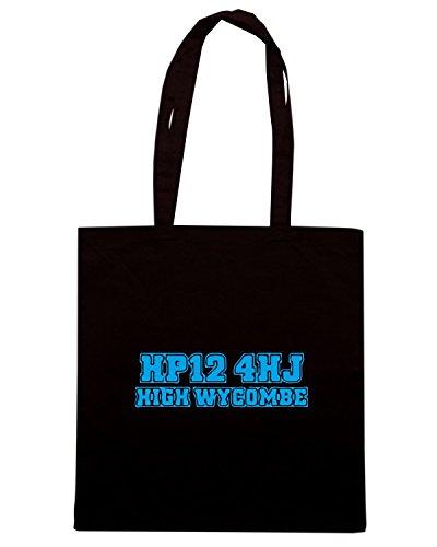 T-Shirtshock - Bolsa para la compra WC1206 wycombe-wanderers-postcode-tshirt design Negro