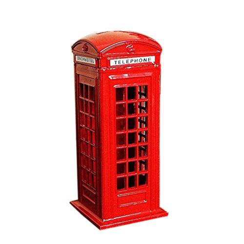 Arichtop Vintage British London Telephone Booth Figurine Model Bank Metal Coin Box