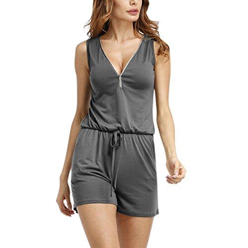 Lisli Femme Combishort Combinaison Short paule Col V Zipper Bodysuit Poche Casuel Silm Plage Vacances t Gris