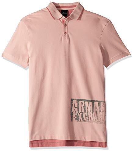 (A|X Armani Exchange Men's Graphic AX Print Polo Shirt, Zephyr/Heather Rose, S)