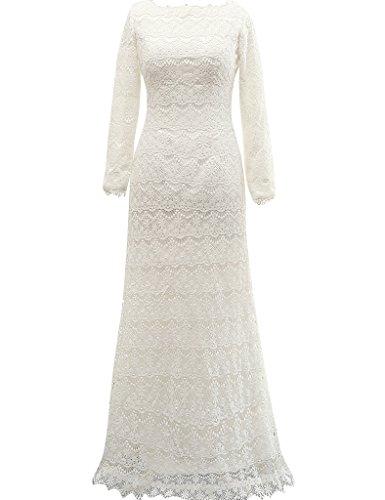 JAEDEN Mujeres Manga larga Vestidos de novia largo Encaje Vestido de boda Blanco