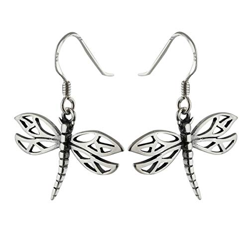 Dragonfly Earrings - 925 Sterling Silver - Outline Dangle Dragonflies Insect - Jewelry Accessories Key Chain Bracelets Crafting Bracelet Necklace Pendants Dragonfly Hook Dangle Earrings