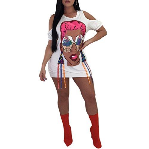 Fadvanes Womens Casual Cold Shoulder Short Sleeve Pullover Round Neck Mini Short T-Shirt Dress Sweatshirt White M