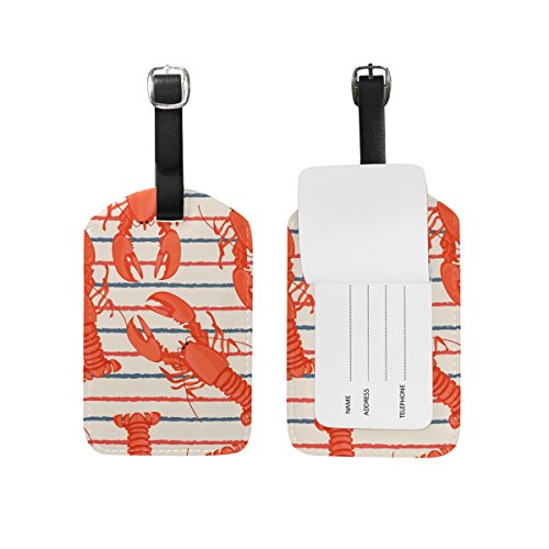 Holiday Stripes Address Label (Cooper girl Lobsters Stripe Luggage Tag Travel ID Label Leather for Baggage Suitcase 1 Piece)
