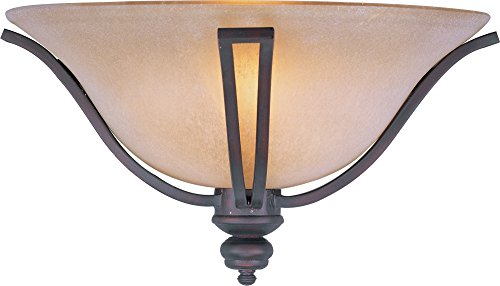 Maxim 10179WSOI Madera 1-Light Wall Sconce, Oil Rubbed Bronze Finish, Wilshire Glass, MB Incandescent Incandescent Bulb , 100W Max., Damp Safety Rating, Standard Dimmable, Glass Shade Material, 8050 Rated Lumens (Wilshire Silver Chandelier)