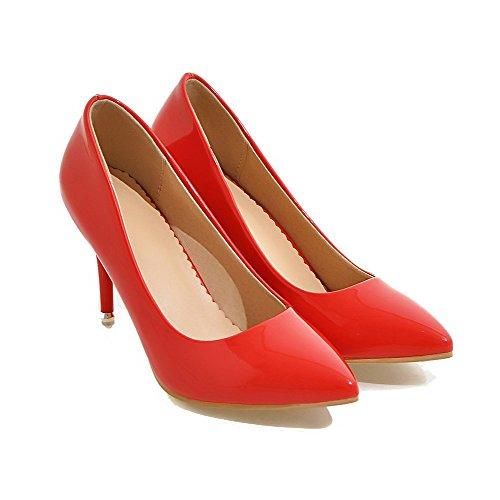 AllhqFashion Damen Lackleder Hoher Absatz Spitz Zehe Rein Ziehen auf Pumps Schuhe Rot