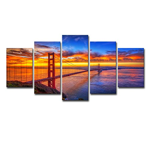 (5 Panels Modern Canvas Painting Wall Art Golden Gate Bridge at Sunrise San Francisco Cityscape Bridge Landscape Print On Canvas Giclee Artwork for Wall Decor)