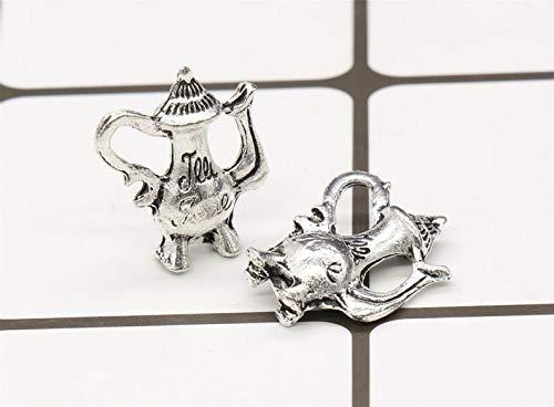5 Tea Pot Charms Antique Silver Tone 3D 19x15mm - YD3697