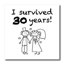 EvaDane - Funny Quotes - I survived 30 years. Black. - Iron on Heat Transfers - 10x10 Iron on Heat Transfer for White Material (ht_200831_3)