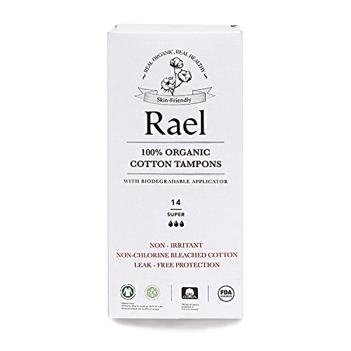 Rael 100% Certified Organic Super Tampons, Non-Chlorine Bleached Tampons with Biodegradable Cardboard Applicator(42 Total) (3 Packs)
