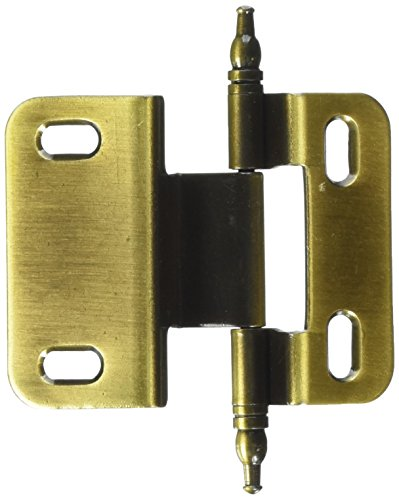 Amerock PKR7687MAE 3/8in (10 mm) Inset Non Self-Closing, Face Mount Antique Brass Hinge - 50 Pack