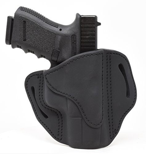 1791 GUNLEATHER Glock 19 Holster - Right Hand OWB G19 Leather Holster for Belts - Fits Glock 19, 23, 26, 27, H&K VP40 and Springfield XDS - Stealth Black