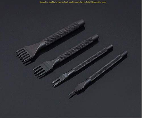 Xennos Hole Punch Tools for Leather Craft DIY Diamond Cut Lacing Stitching Chisel Set LeatherCraft Kits 3/4mm Hole Spacing Black Steel - (Color: 4mm Black 1Set 4)