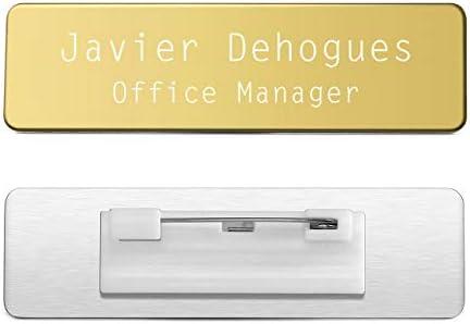 Mogokoyo Personalized Gravur- Namensschilder mit Nadel CustomName Badges/Name Plate/ID Name Tag aus Edelstahl fürKleidung (Gold)
