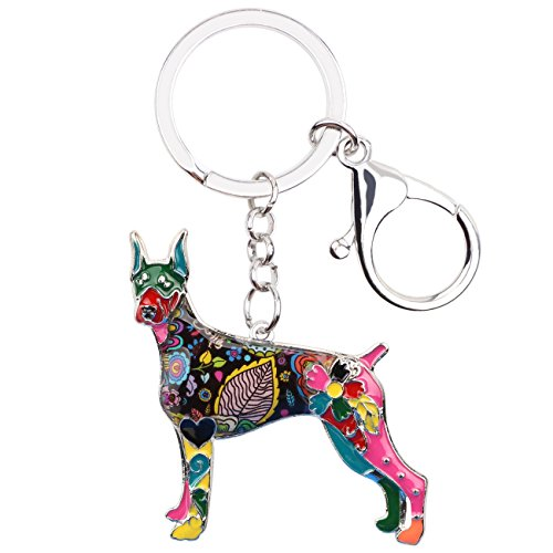 Bonsny Enamel Alloy Doberman Dog Key Chains For Women Gifts Car Purse Handbag Charms Jewelry (Multicoloured)