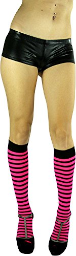 ToBeInStyle Women's Opaque Striped Knee High Warm Nylon Stoc