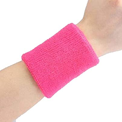 JIAJIAKONG Sports Wristband Squash Badminton Terry Cloth Wrist Sweat Bands for Tennis Basketball Gym 10cm 8cm Multi-color optional Pink Estimated Price £10.99 -