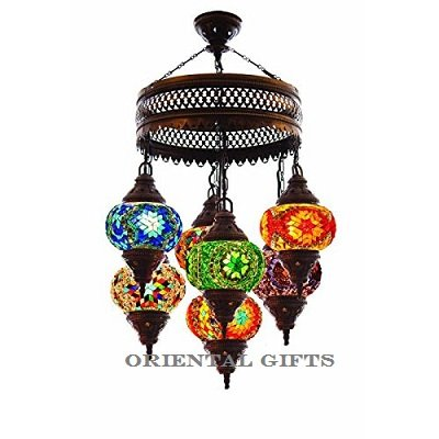Turkish Authentic 7 Globe Mosaic Chandelier Mosaic Lamp Moroccan Lantern