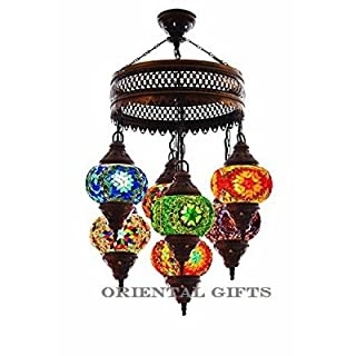 Turkish lamp chandelier do it yourselfore turkish authentic 7 globe mosaic chandelier mosaic lamp moroccan lantern aloadofball Image collections