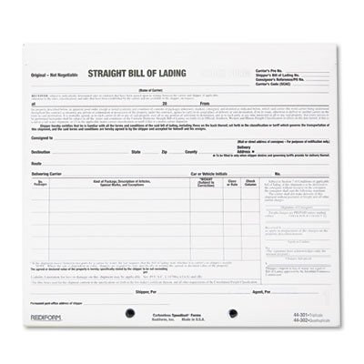 RED44301 - Bill of Lading Short - Short Form Lading