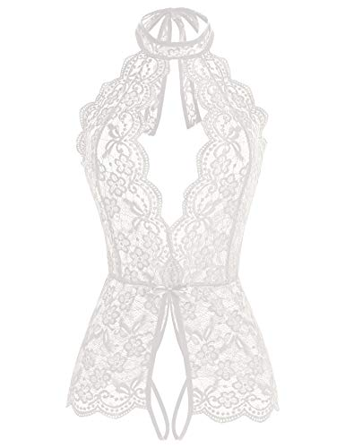 Ababoon Women One Piece Lingerie Lace Sexy Baby Dolls Teddy Sleepwear for Sex (XXL, White)