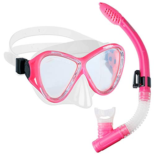 ANGGO Snorkel Set Anti-Fog Film Dive Mask Snorkel Combo Tempered Glass Goggle and Dry Top Snorkel for Swimming and Snorkeling ()