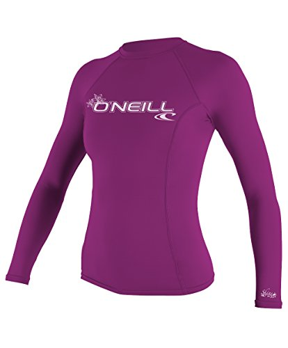 O'Neill Wetsuits UV Sun Protection Womens Basic Skins Long Sleeve Crew Sun Shirt Rash Guard, Fox Pink, X-Large