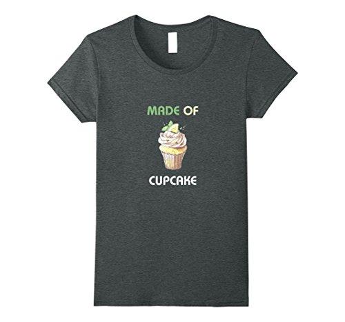 Womens Made Of Cupcake Cute Women's And Girls Gift T-Shirt Small Dark Heather