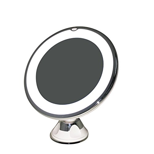 7X Lighted LED Makeup Mirror Vanity Cosmetic Bathroom Travel Mirror with Rotating, Locking Suction Cup; Rotating Adjustable Tilting Arm; 7X Magnification