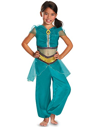 Princess Jasmine Halloween Costume For Kids (Disguise Disney Aladdin Jasmine Sparkle Classic Girls Costume, 4-6X)