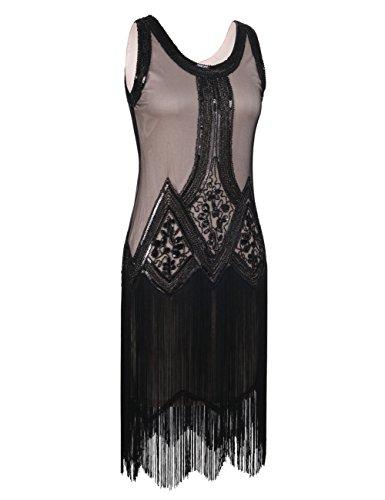 PrettyGuide Femme Années 1920 Vintage Perle Frange Inspired Robe Charleston L Noir Beige