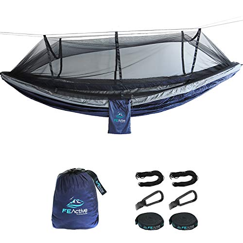 molti alla moda nuovo prodotto anteprima di FE Active - Camping Hammock Portable Lightweight 2 Person Double Hammock  with Mosquito Net for Outdoors, Camping, Backpacking, Hiking, Trekking   ...