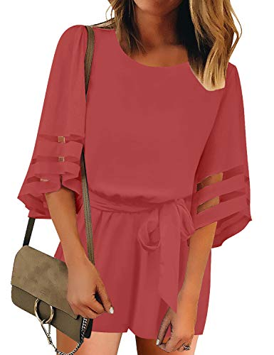 LookbookStore Women's Summer Casual Crewneck Mesh Panel Romper 3/4 Bell Sleeve Self-Tie Belted Short Playsuit Jumpsuits Solid Tea Rose Size Large (Lace Belt Belted)