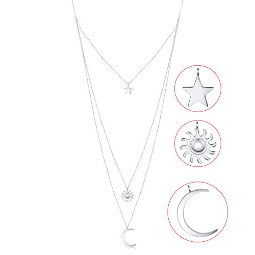 S925 Sterling Silver Star Sun Moon Multilayer layered Triple Long Chain Pendant Choker Necklace for - Triple Silver Necklace Strand