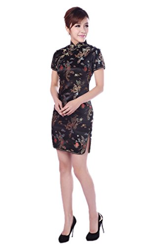 AvaCostume Women's Chinese Dragon Phoenix Qipao Cheongsam Embroidery Dress Size US 12 (Chinese Woman Costume)