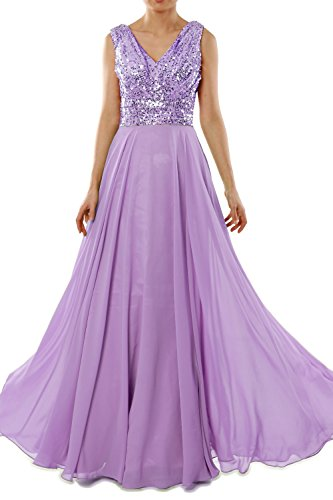 MACloth Women V Neck Sequin Chiffon Long Bridesmaid Dress Formal Evening Gown (26w, Lavender)