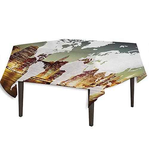 kangkaishi World Detachable Washable Tablecloth World Global Cartography Globalization Earth International Concept New York City Great for Parties Festivals etc. W54.3 x L54.3 Inch Multicolor