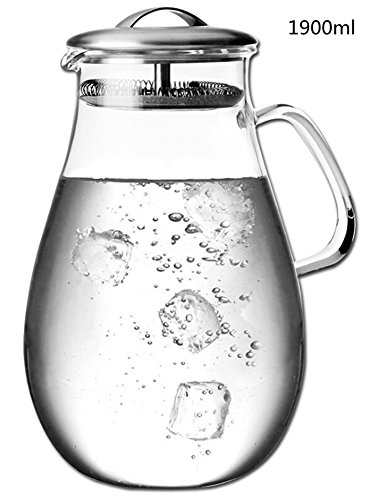 Teemall 63oz Glass Pitcher with Lid, Water Jug for Hot/Cold Water, Ice Tea and Juice Beverage (Pitcher Thermal 1.9l)