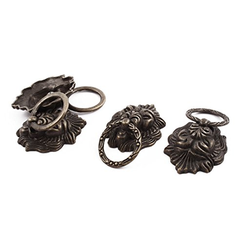 - uxcell Home Drawers Door Chest Vintage Style Lion Head Metal Pull Knob Handle Bronze Tone 4 Pcs
