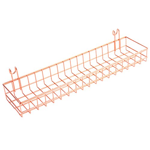 Rose Gold Basket For Gridwall/Grid Panel,Wall Mount Hanging Organizer,Wire Metal Storage Shelf Rack Idea For Wall Decor Size 15.7