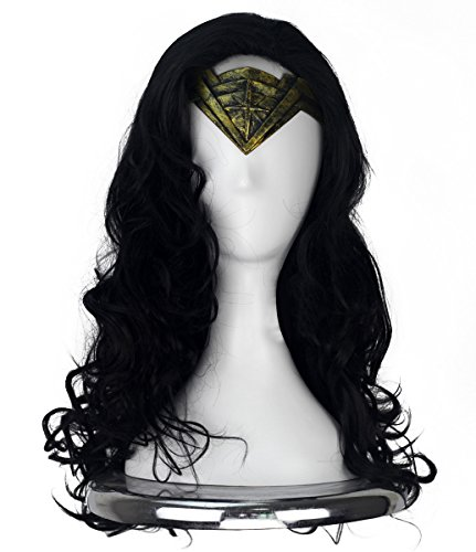 COSKING Princess Diana Cosplay Wig, Women Halloween Long Curly Black Costume Hairpiece (One Size) ()