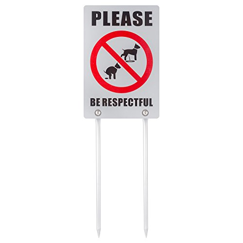 Kichwit Double Sided No Dog Poop Yard Sign, Please Be Respectful Sign, All Metal Construction, No Dog Pooping or Peeing Sign, Sign Measures 7.9