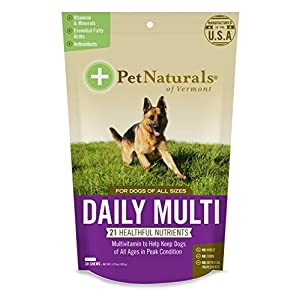 Pet Naturals of Vermont – Daily Multi for Dogs, Everyday Multivitamin Formula with 28 Canine Specific Nutrients, 30 Bite-Sized Chews