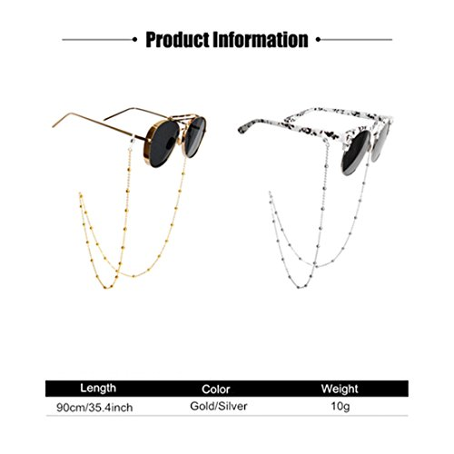 Kalevel Eyeglass Chain Beaded Glasses Eyeglass Chains and Cords For Women Gold