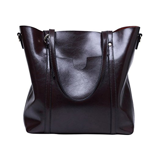Fmeida Damen Leder Handtasche Große Umhängetasche Vintage Shopper Tasche für Arbeits-Reise (vollkommene Geschenk-Idee)