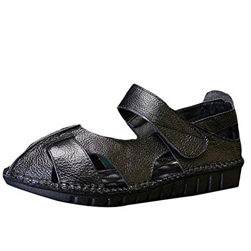 Marche de Femme à Style Plat Spartiates Forme Bout Cuir Verlcro Fermé Vintage Chaussures Vogstyle 1 Noir Eté Talon Sandales 0nSwqSC1